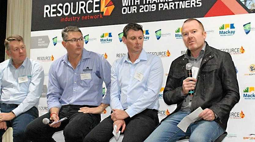 Guest speakers at the Resource Industry Network June briefing from left: Tim Magoffin, Tony Caruso, Craig Doyle and Craig Wainwright.