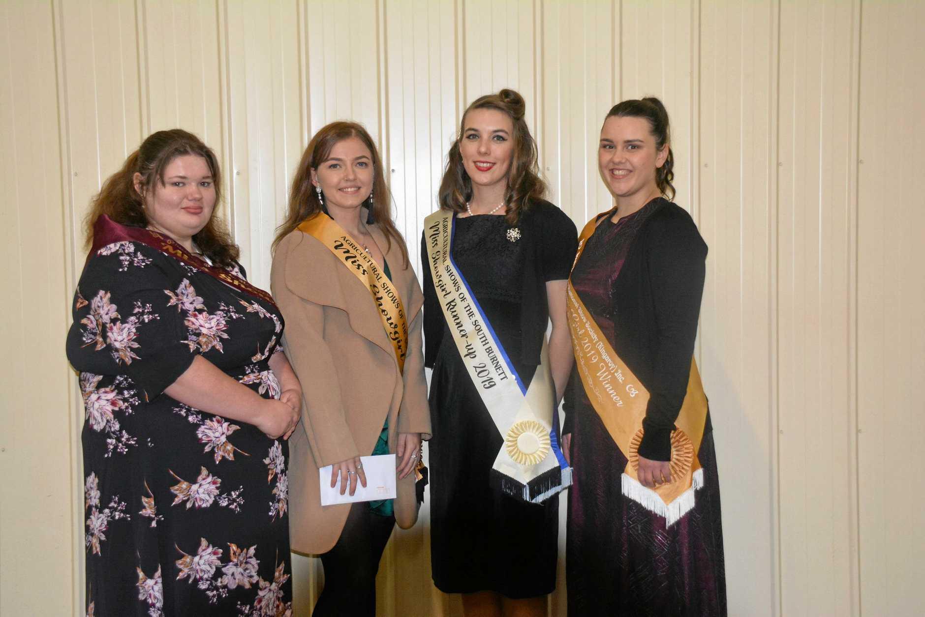 MISS SHOWGIRL; Hayley Flint (Proston), Winner Teagan Hall (Murgon), Runner Up Claire-Marie Pepper (Nanango), and Jessica McGrath (Kingaroy).