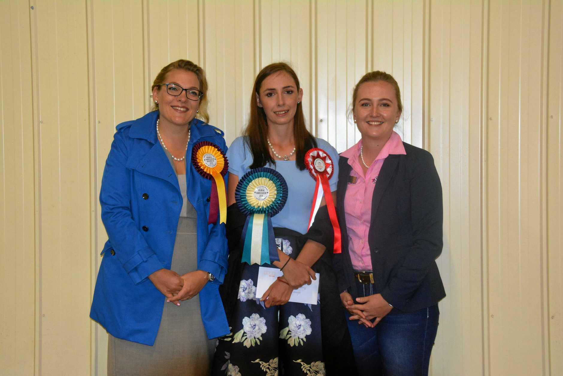 Rural Ambassador; Stacey Sanders (Nanango), Runner Up Brigitta Knopke (Kingaroy), and Winner Leonie Nichols (Blackbutt).