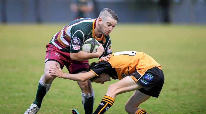 Frenchville's Shane Maguire runs into some solid Cap Coast Crocs defence in Saturday's game.
