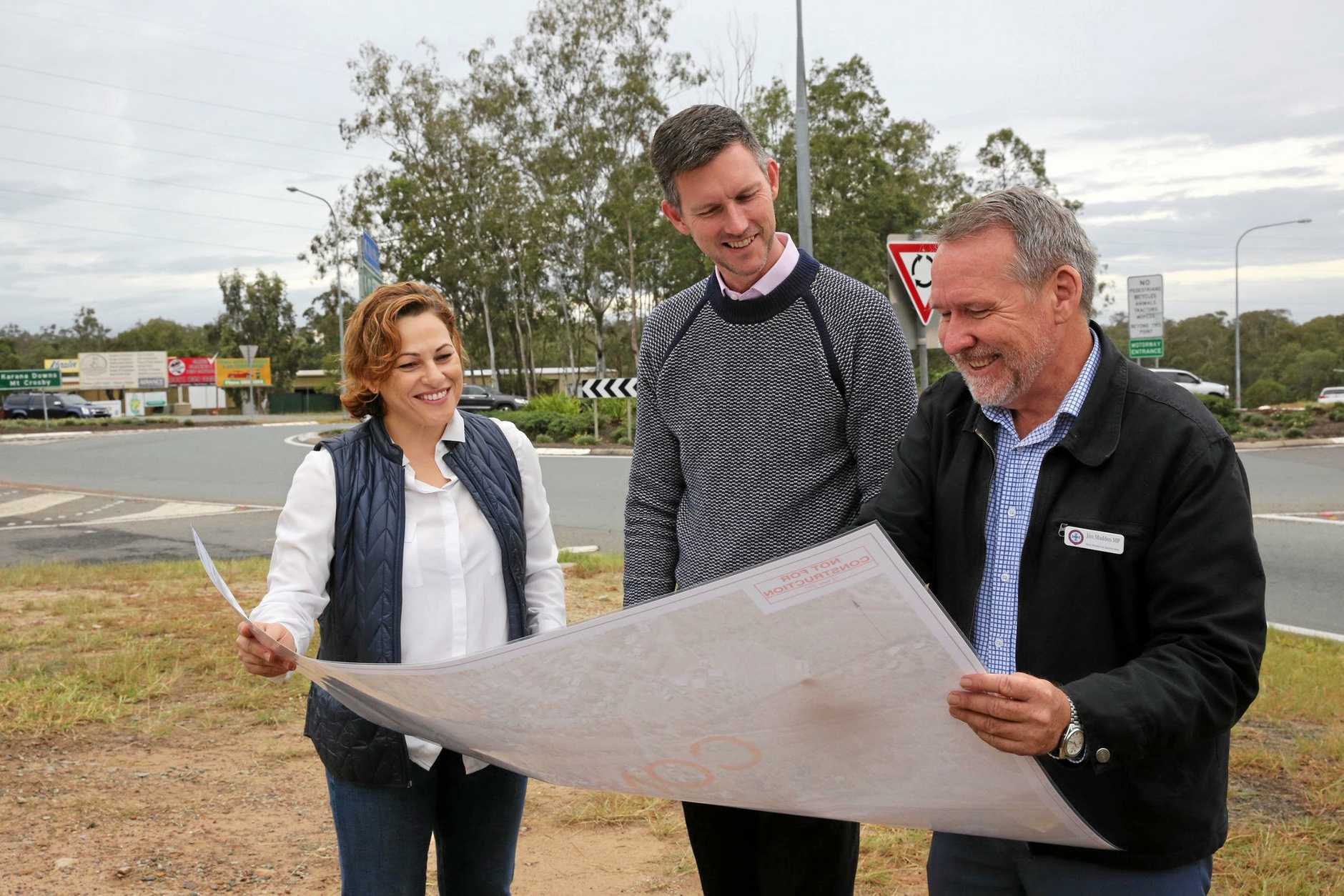 Treasurer and Deputy Premier Jackie Trad, Minister for Main Roads and Transport Mark Bailey and Ipswich West MP Jim Madden at a recent Warrego Hwy funding announcement.