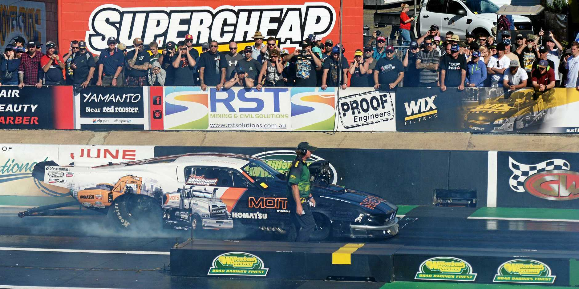 Big crowds watched the action at the Winternats at Willowbank Raceway on Sunday