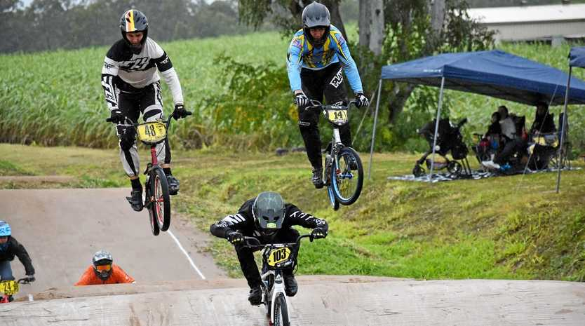GETTING SOME AIR: Superclass BMX action from Maryborough on Saturday featuring #48 Tyler Johnston, #103 Tristan Scott and #14 Harrison Browning.
