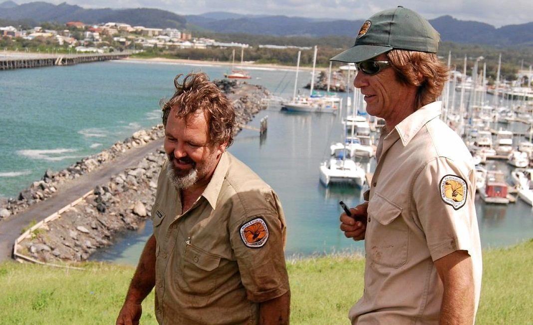 NSW National Parks & Wildlife Service rangers checking bait stations on Muttonbird Island.