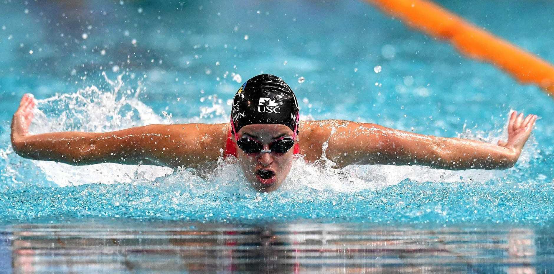 Sunshine Coast swimmer Kaylee McKeown is seen during the Women 200 metre IM event at the World Swimming Trials in Brisbane, Sunday, June 9, 2019.