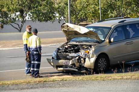 Emergency services on scene at a two-vehicle accident at Mount Sylvia Road and Western Drive, Gatton.