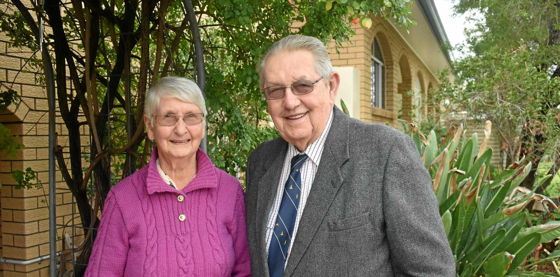 HONOURED: Roma's newest OAM recipient, John 'Jock' Sullivan, with his wife Vera.