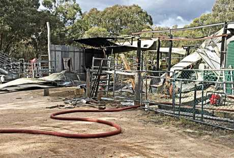 A blaze tore through the Greenlands cabin on Sunday.
