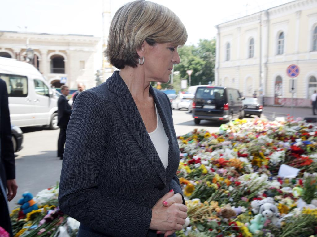 Then foreign minister Julkie Bishop arrives in Kiev, Ukraine in 2014.  Picture:  Ella Pellegrini