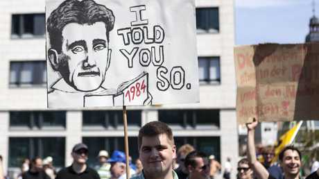 In 30 German cities, a total of more than 10,000 people took to the streets in 2013 to protest against excessive surveillance by US intelligence. Picture: Getty