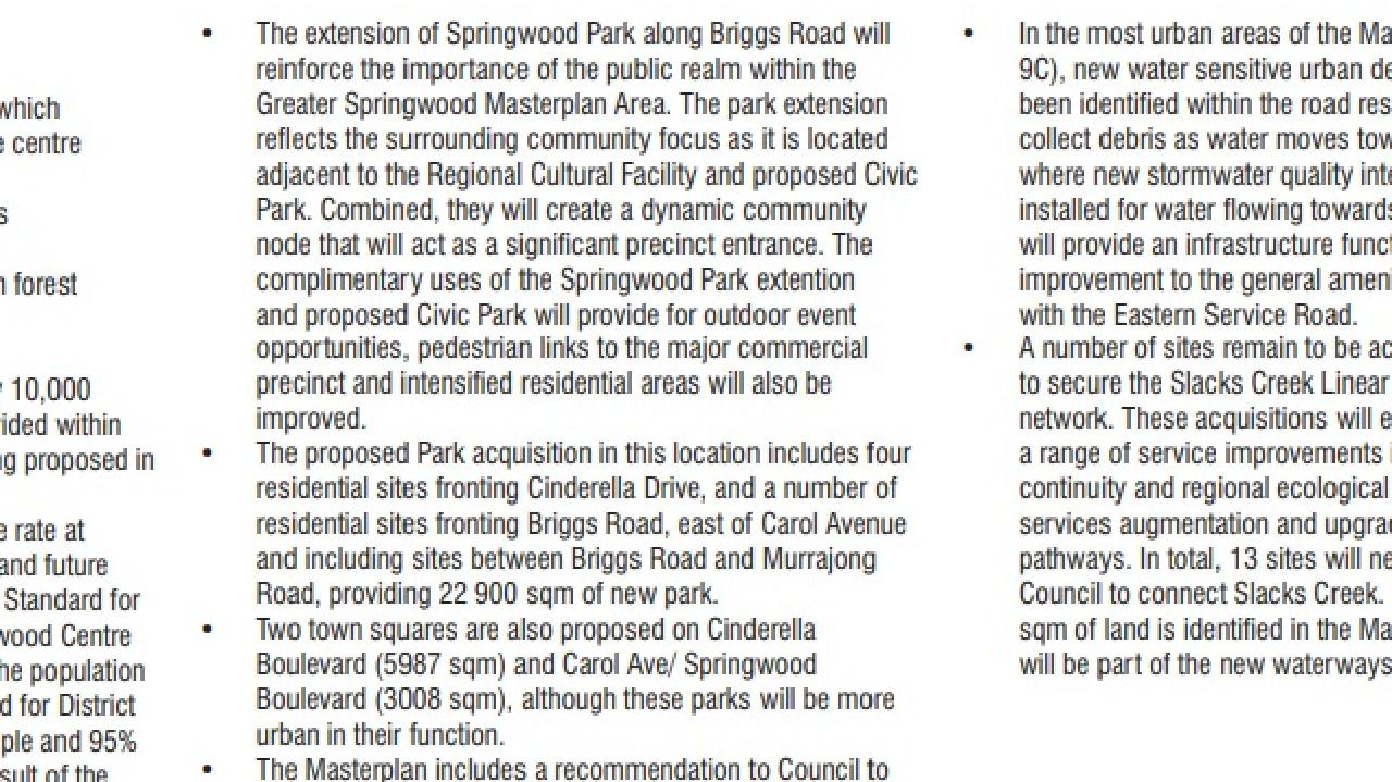 An excerpt from the 2009 Greater Springwood Master Plan which shows the plans to buy four residential sites on Cinderella Dve,