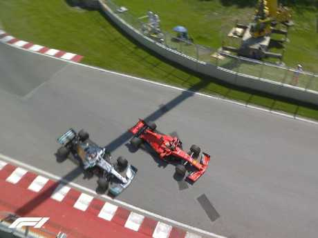 Sebastian Vettel was penalised for this move.