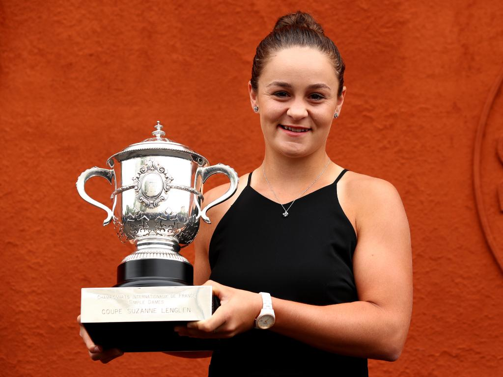 Tennis star Ashleigh Barty celebrates her French Open win.