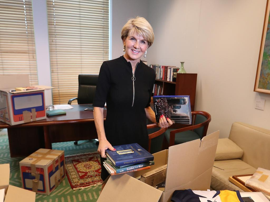 Julie Bishop packing up her office in Canberra. Picture: Kym Smith