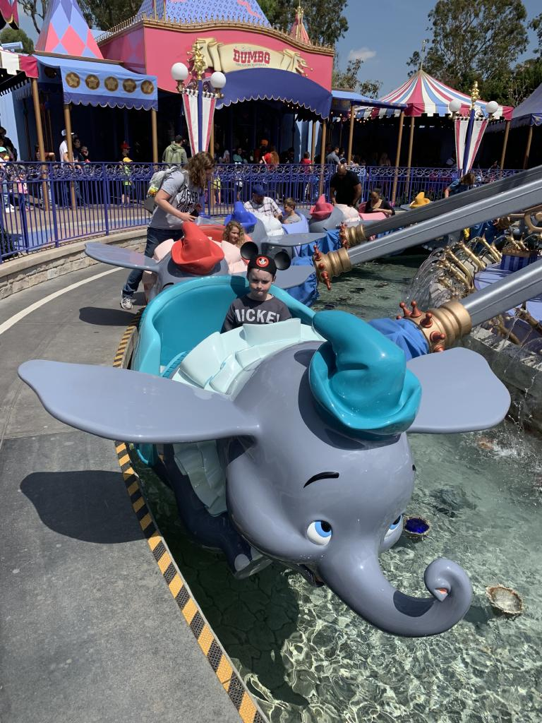 Little ones love the view from the Dumbo the Flying Elephant ride at Disneyland, California.