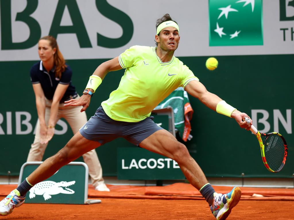 Rafael Nadal of Spain plays a forehand against Dominic Thiem of Austria during Day fifteen of the 2019 French Open. Picture: Julian Finney/Getty Images