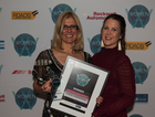 Anastasia Bios, Business Development Manager for MEGATRANS2020, presented the Excellence in Road Transport Award to Sondra Kremerskothen, Linfox Australia Group Manager Training.