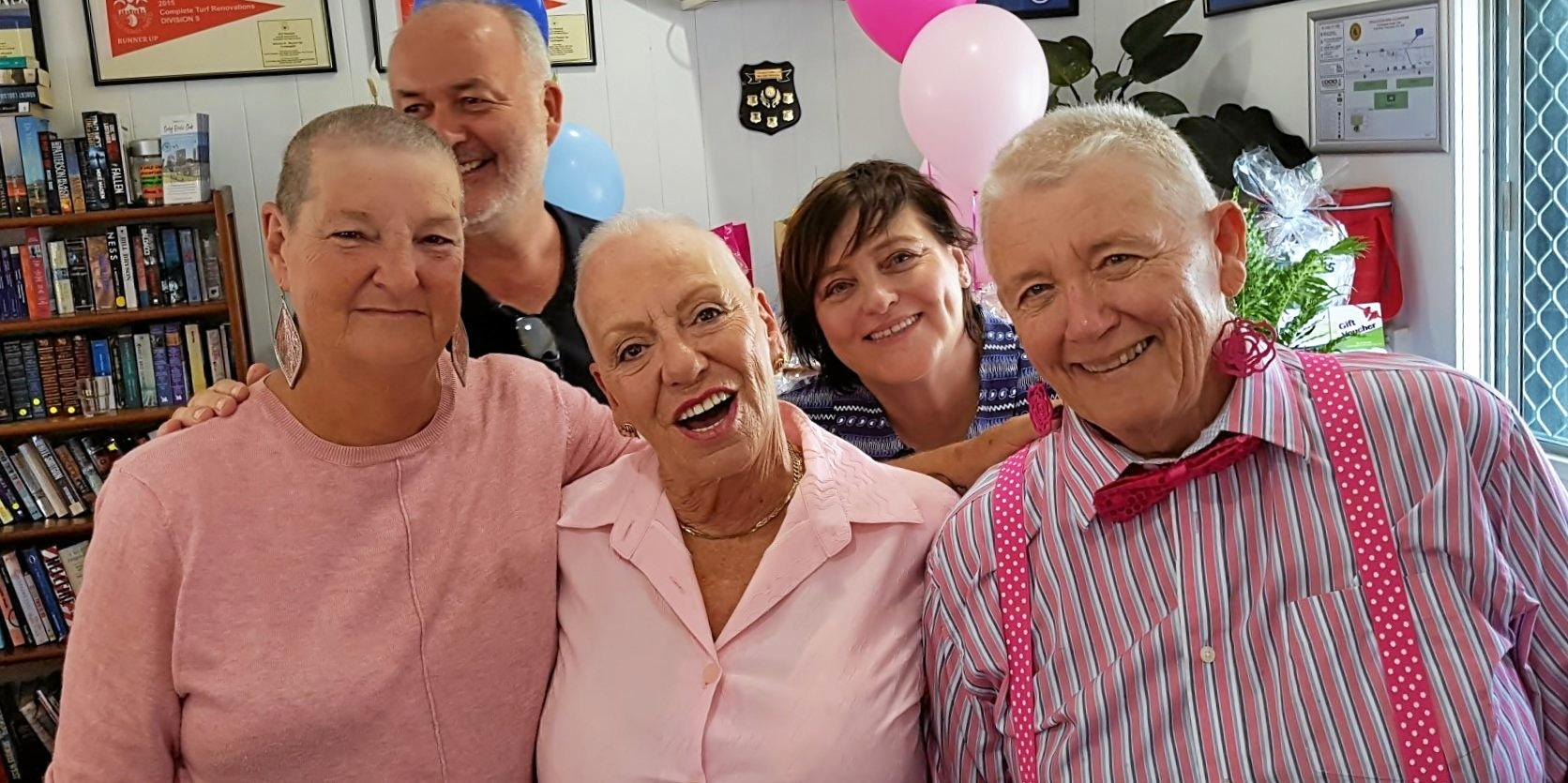 A CUT ABOVE: Fundraisers Susan Sealby, Barbara McGrath and Gail Rottier , shaving their heads for cancer under the expert hands of Coolangatta Senior Citizens Centre hairdressers Suzie and Ivan Bendig.