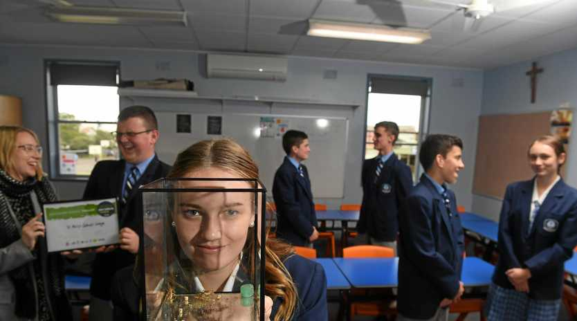 St Mary's Catholic College year 10 student Kayla Jones with fellow students and teacher Jackson Whitney, Bonny RIddle, Ryan Clark, Ky Crethar, Michael Zervos, Sophie Flatley were awarded the finalist position in the Green Innovation Awards with their idea to use cricket flower to feed the masses.