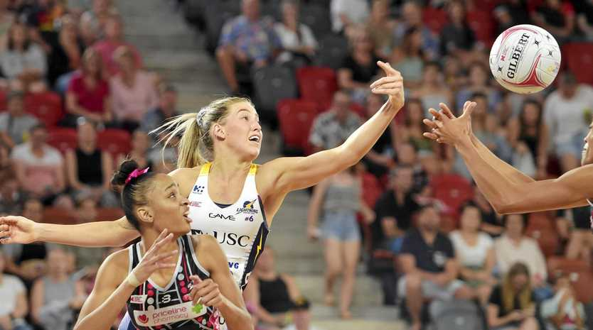 Shamera Sterling of the Thunderbirds and Cara Koenen of the Lightning during the Round 7 Super Netball match between the Adelaide Thunderbirds and the Sunshine Coast Lightning at Territory Netball Stadium in Darwin, Saturday, June 8, 2019.