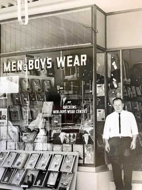 LEGACY: Mike Balkin's uncle Reginald Balkin at Balkin's Menswear, which opened the first of four Sunshine Coast shops in Nambour in 1962.
