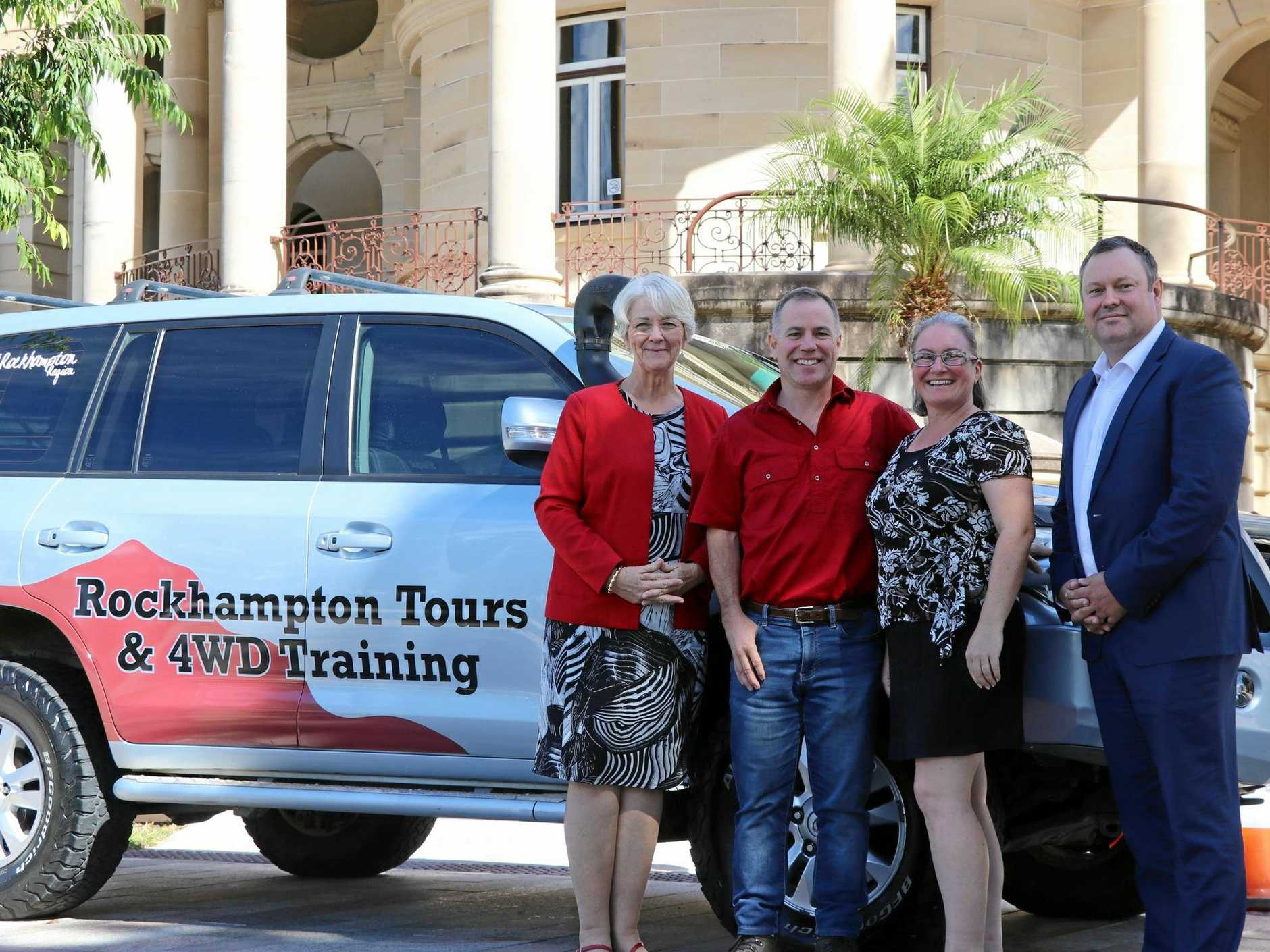 DISCOVER : Pictured is Mayor Strelow, Tony Davys, Helen Davys and Wade Clark from Advance Rockhampton, all excited about the launch of Rockhampton Tours and 4WD Training.