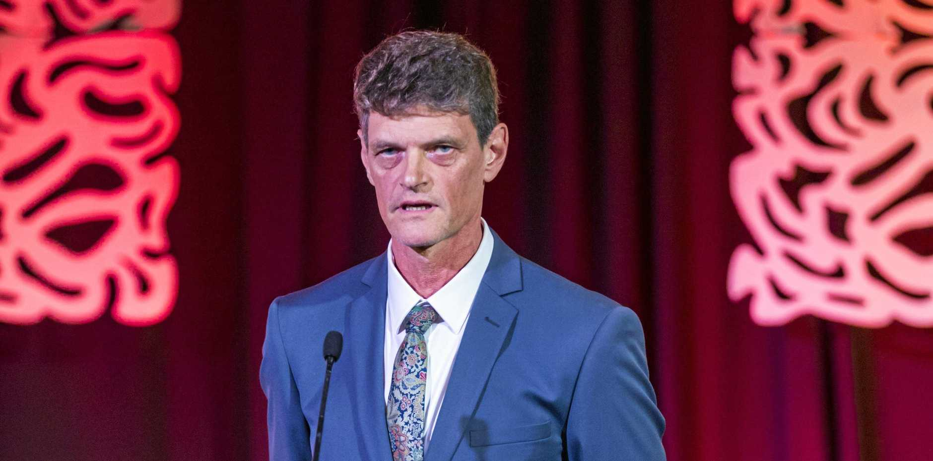 RECOGNITION: Dr Cameron Bardsley winning the Legend of the Bush award at the RDAQ Conference 2019.