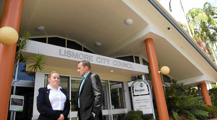 Lismore City Council general manager Shelley Oldham, with Lismore mayor Isaac Smith.