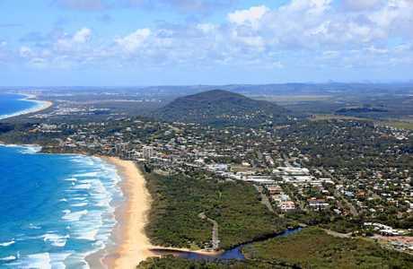 Aerial view of Coolum Beach