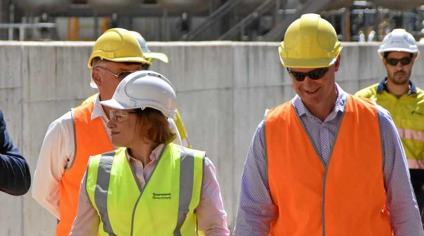 BUDGET: Deputy premier and treasurer Jackie Trad and Gladstone MP Glenn Butcher at Northern Oil Refinery, Yarwun.