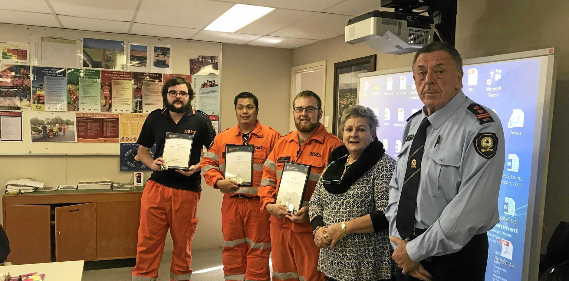 GIVING BACK: Charleville SES volunteers after receiving their certificates for becoming floodboat operators.