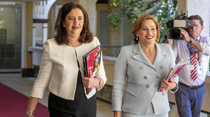 Queensland Premier Annastacia Palaszczuk and Treasurer Jackie Trad announcing the Queensland Budget on Tuesday.
