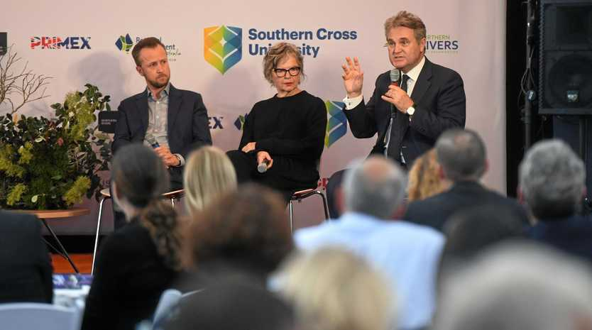 The panel at the Future Northern Rivers event at SCU included Demographics Group managing director Bernard Salt, Lismore Council general manager Shelley Oldham, Brookfarm co-founder Pamela Brook, Engagement Southern Cross University vice president Ben Roche, and Southern Cross University student Max Den Exter.