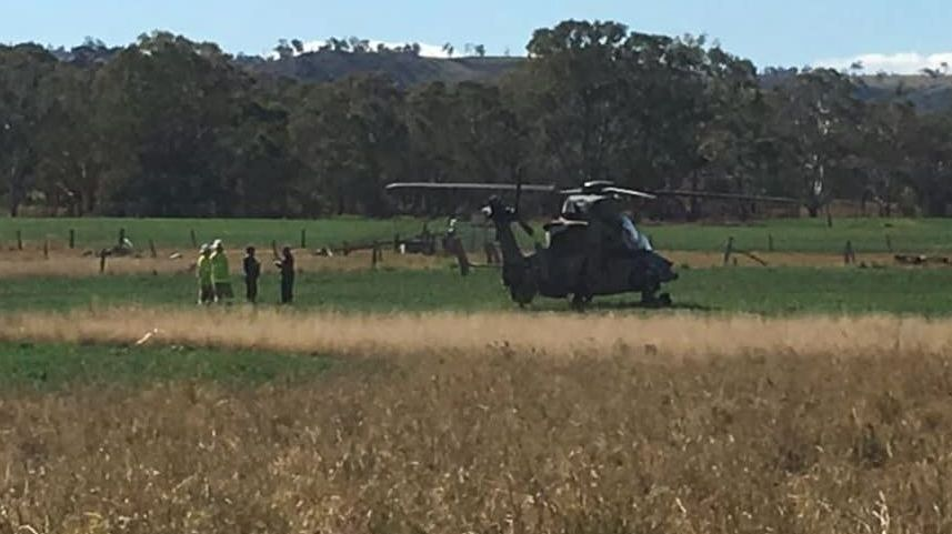 A Tiger helicopter made an emergency landing in a paddock near Maclagan about 11.45am Tuesday.