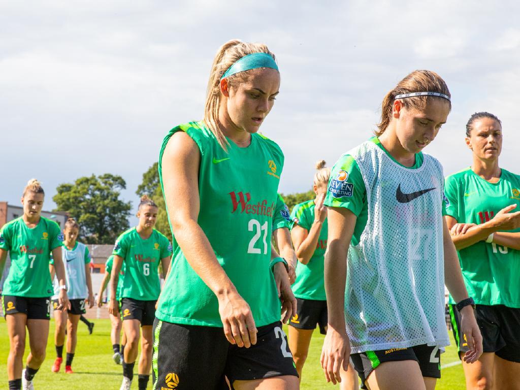 The Matildas training in Valenciennes. Picture: FFA
