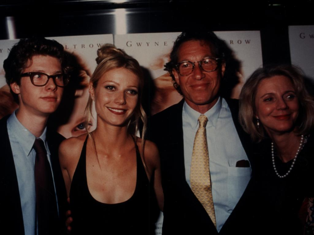 Gwyneth Paltrow with her brother Jake and her parents Blythe and Bruce Paltrow in 1996. Paltrow credited her father with bringing her back down to earth. Picture: Supplied