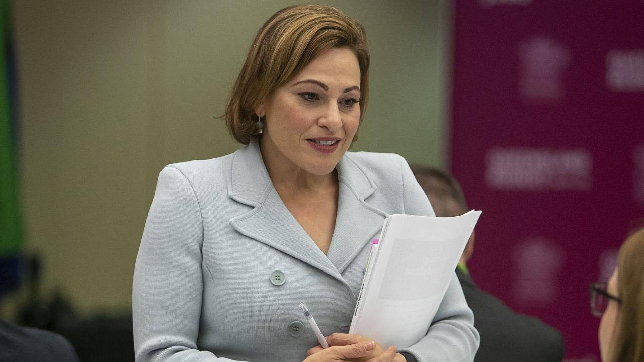 Queensland Treasurer Jackie Trad during this morning's State Budget media briefing. Picture: Glenn Hunt/AAP