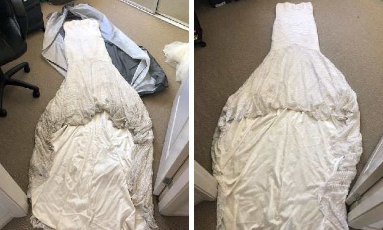 A bride bravely decided to clean her $2000 dress at home with impressive results, using $15 worth of products. Picture: Supplied