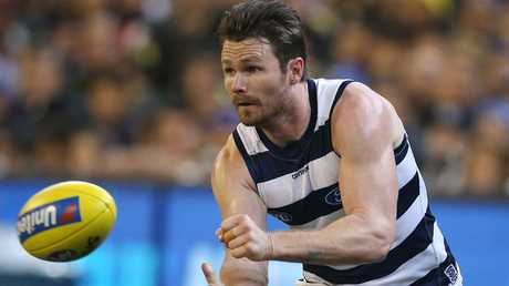 """Patrick Dangerfield is being accused of """"playing the man"""". Picture: Michael Klein"""