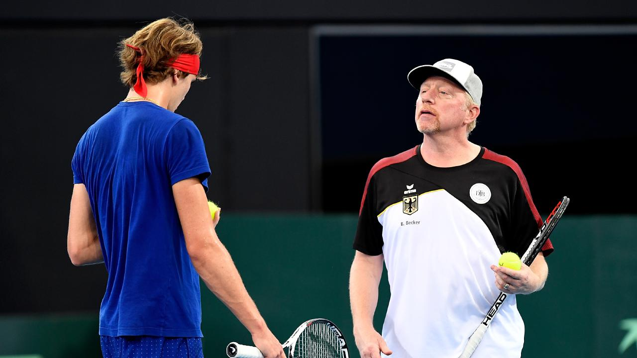 Boris Becker coaching Alexander Zverev during Davis Cup. Picture: Getty