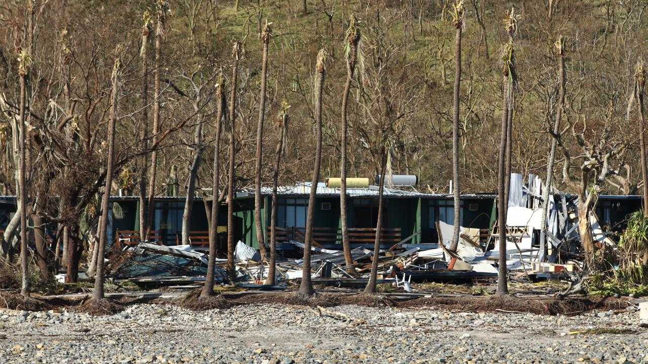 Severe damage to defunct South Molle Island resort caused by Cyclone Debbie