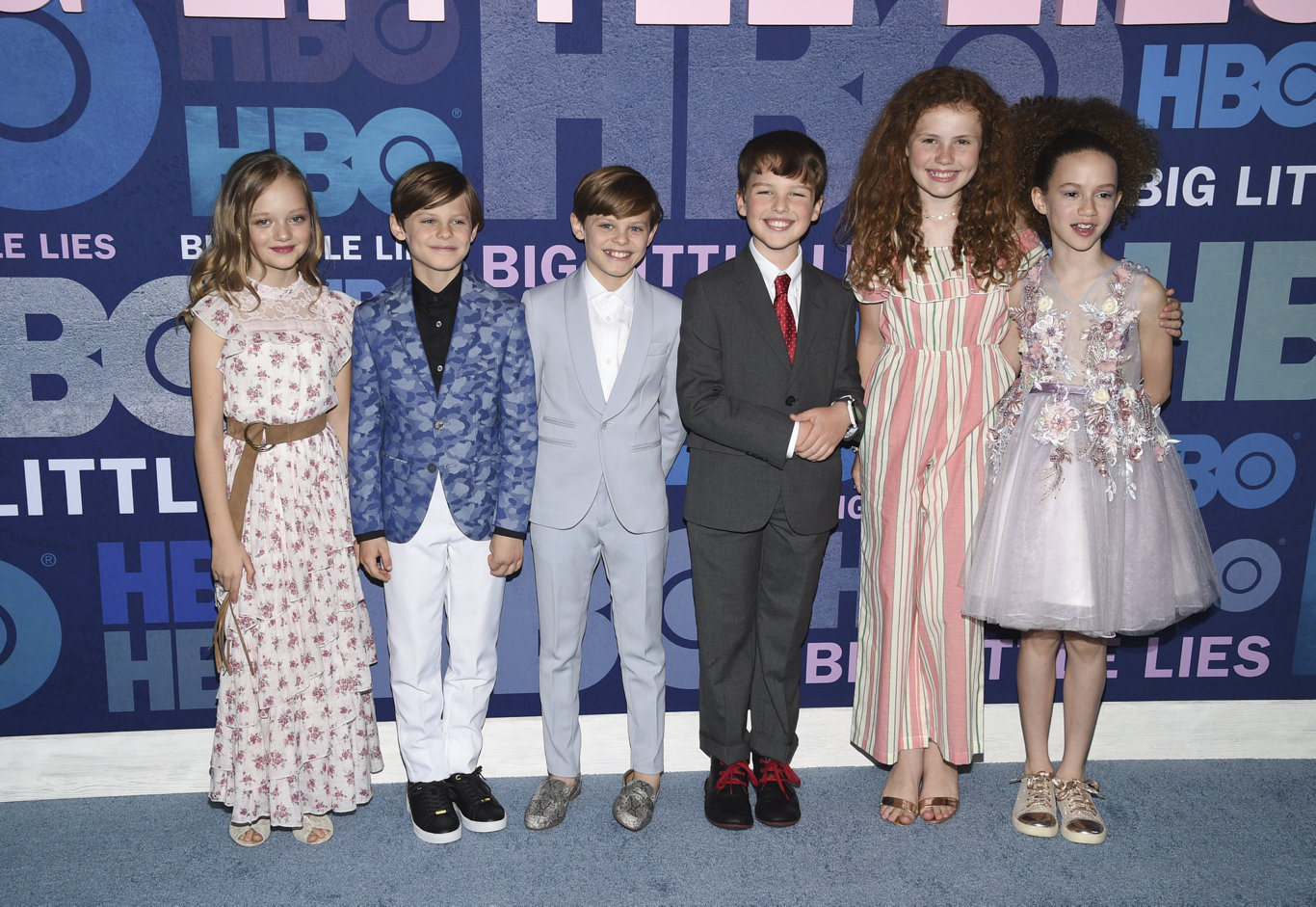 Actors, from left, Ivy George, Cameron Crovetti, Nicholas Crovetti, Iain Armitage, Darby Camp and Chloe Coleman attend the premiere of HBO's