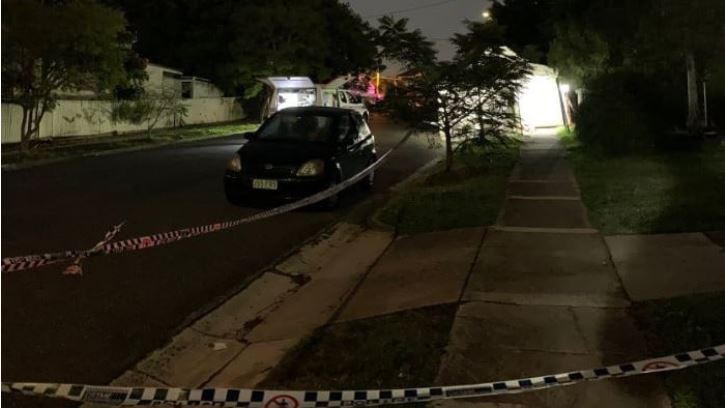 Police at the scene of a fatal stabbing in Annerley. Picture: Sky News