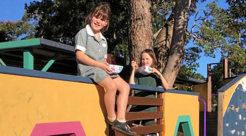 HEALTHY START: Bruns Public students Lizey Loughnan, 12, Lilli Black, 7, and Tilly Loughnan, 9.