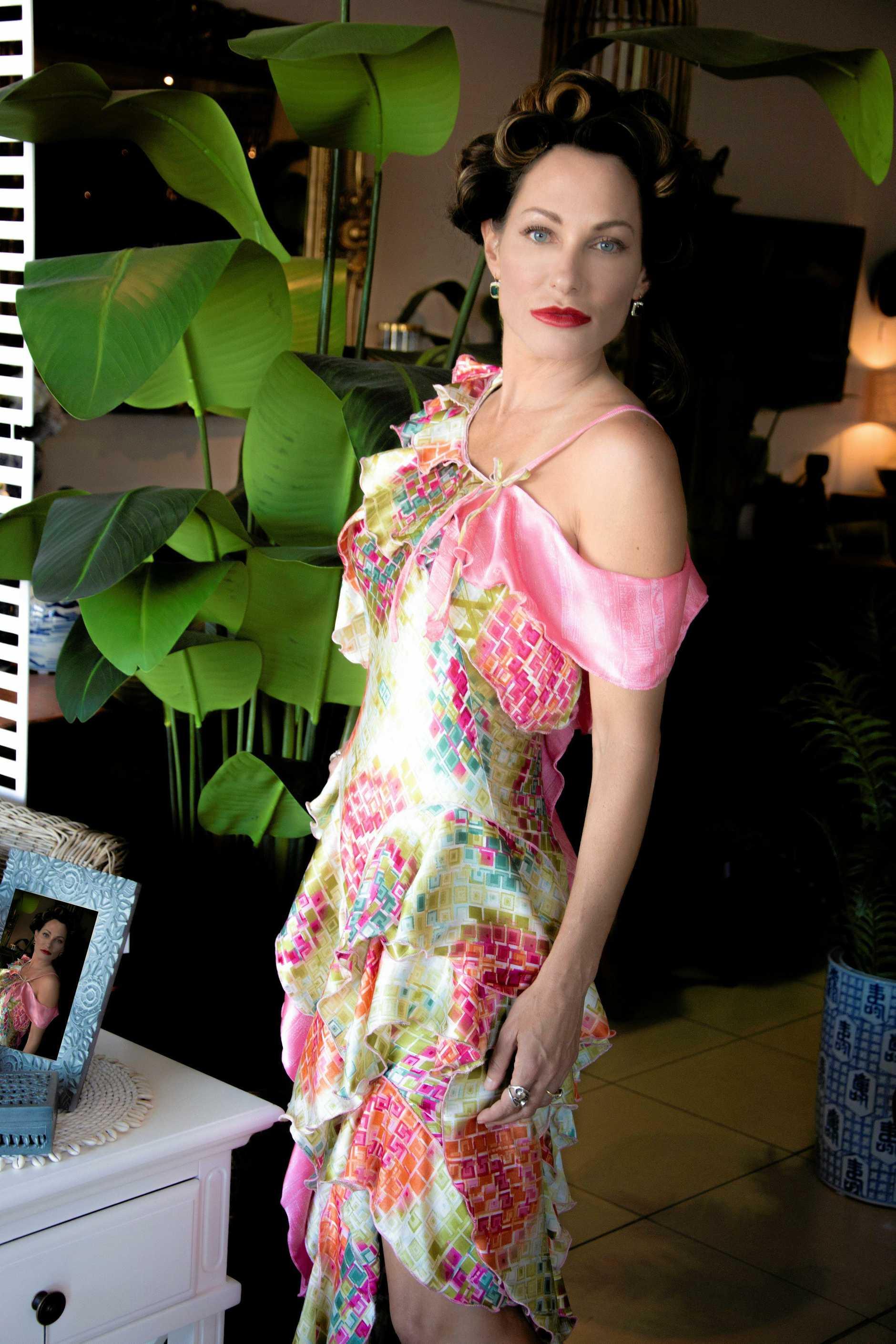 Model Mirta Parenza wearing one of Jason Chetcuti's exclusive designs.