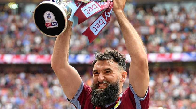 LONDON, ENGLAND - MAY 27: Mile Jedinak of Aston Villa celebrates after the Sky Bet Championship Play-off Final match between Aston Villa and Derby County at Wembley Stadium on May 27, 2019 in London, United Kingdom. (Photo by Mike Hewitt/Getty Images)