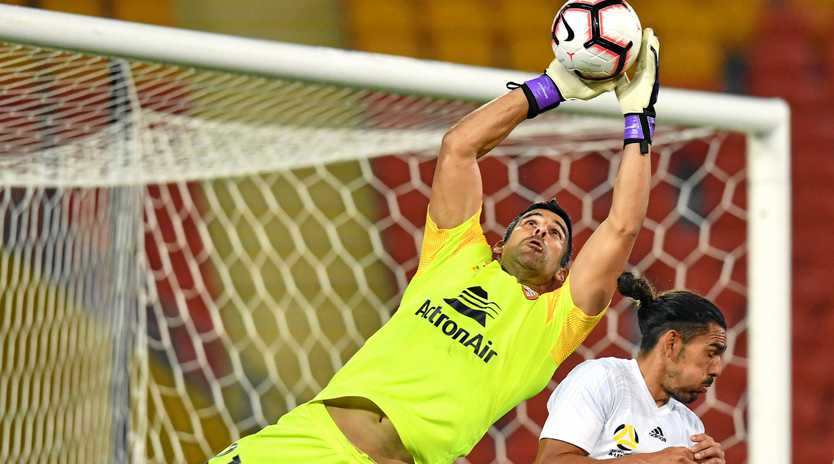 CATCHING ON: Brisbane Roar goalkeeper Jamie Young and his teammates will be on the Fraser Coast later this year. Bundy players will get the chance to play them.