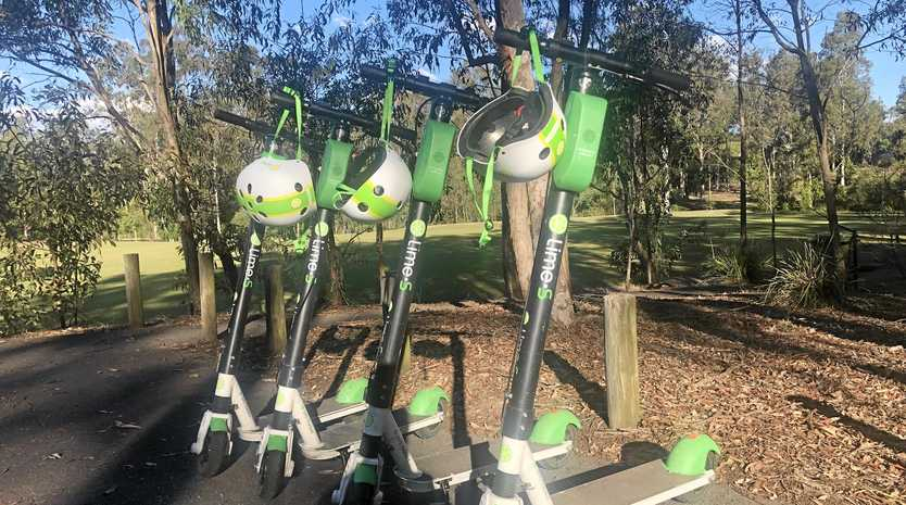 The four Lime scooters were found in Moreton Family Park in Chuwar on Tuesday afternoon.