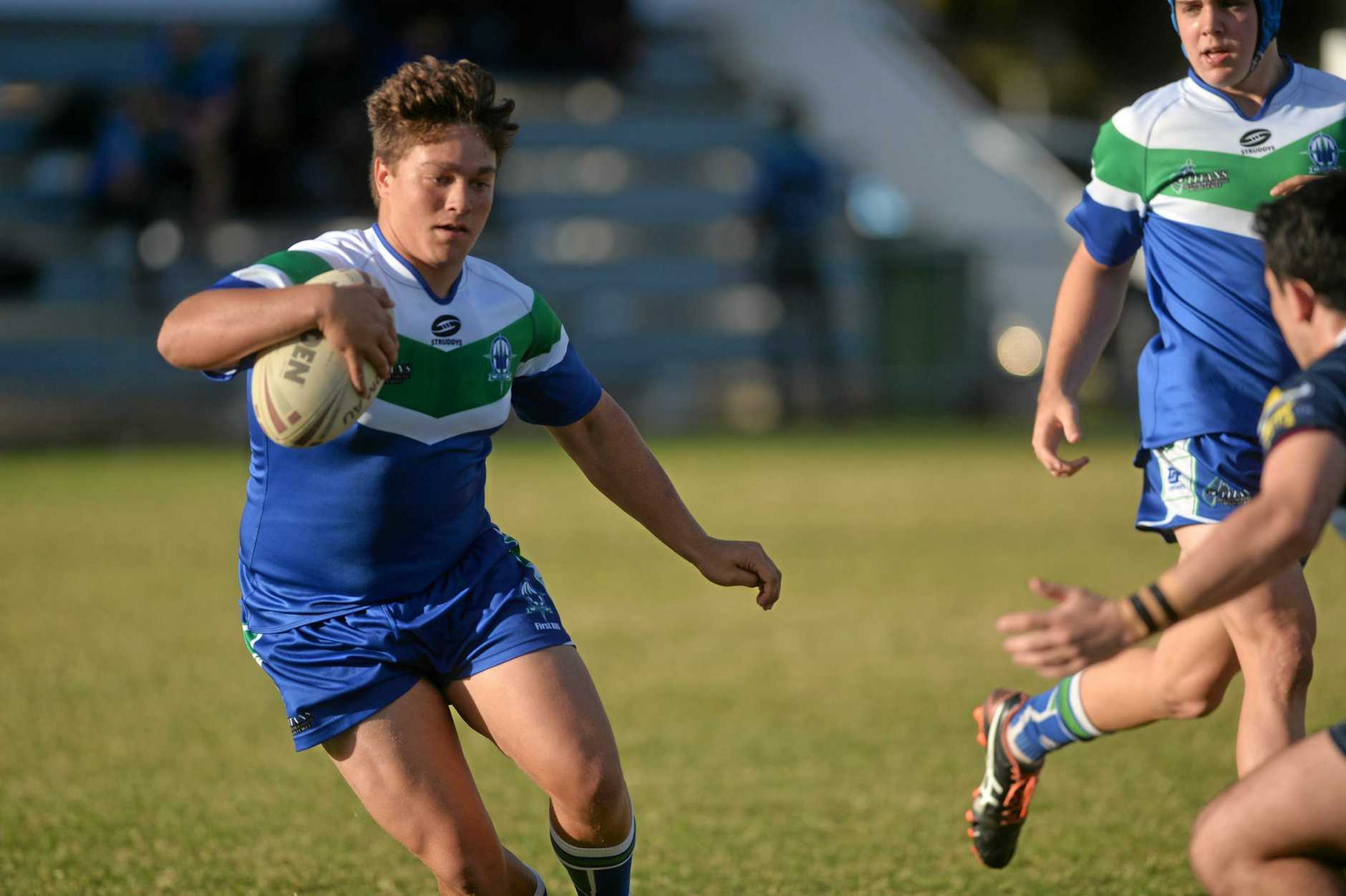 Mackay State High School v The Cathedral College in the Aaron Payne Cup at Mackay's Junior Rugby League Fields.