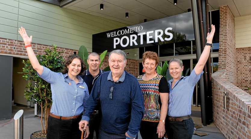 LONG HISTORY: Mel, Michael, Bob, Julie, and Shelley Porter outside Porters Plainland Hotel.